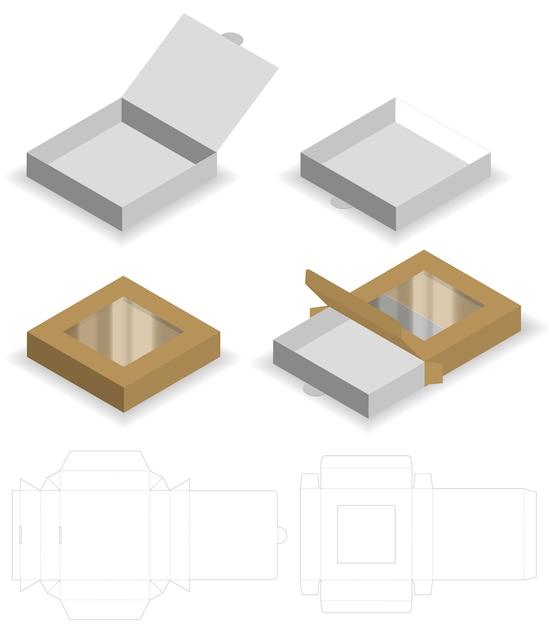 Boîte avec fenêtre en plastique die cut mock up template vecteur Vecteur Premium