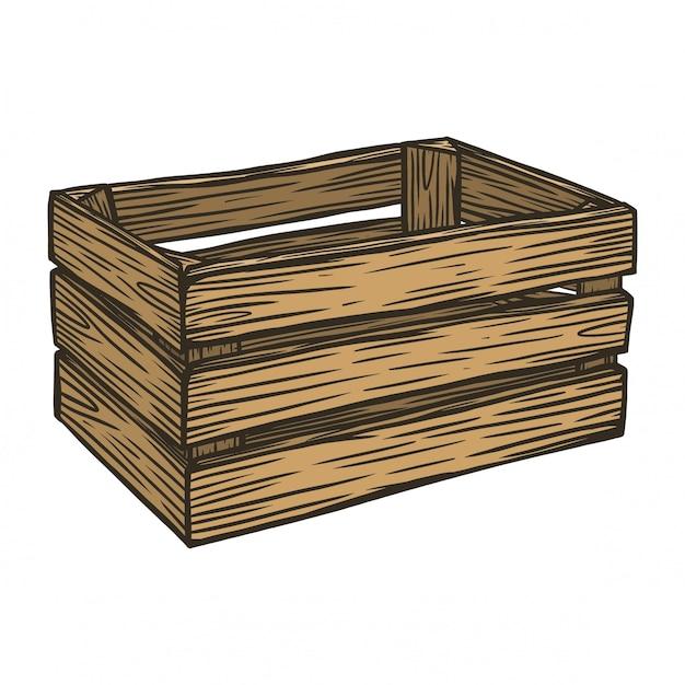 Boîte à fruits en bois Vecteur Premium