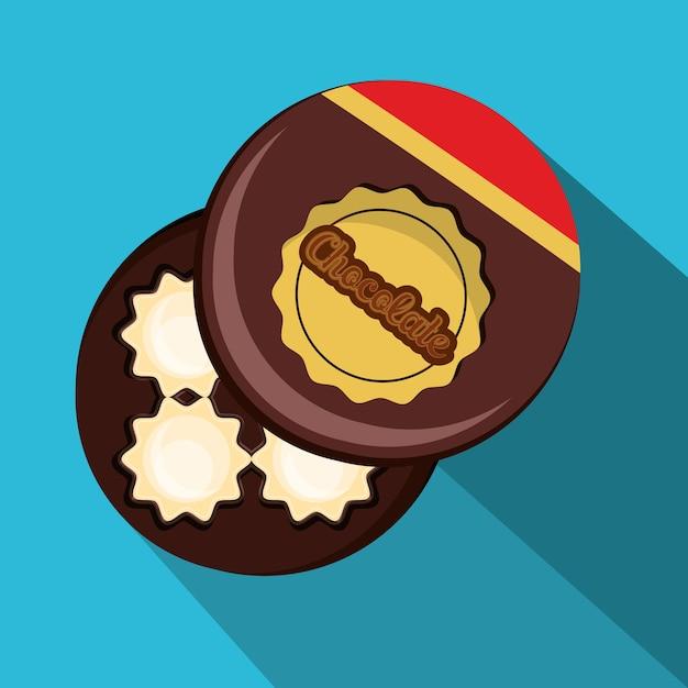 Boîte d'icône de bonbons au chocolat Vecteur Premium