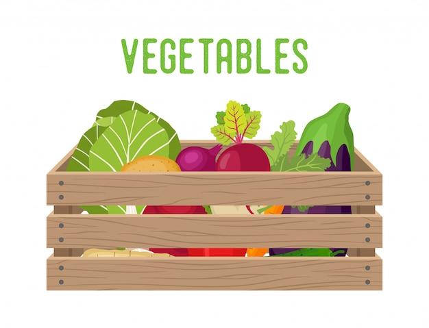 Boîte à légumes Vecteur Premium