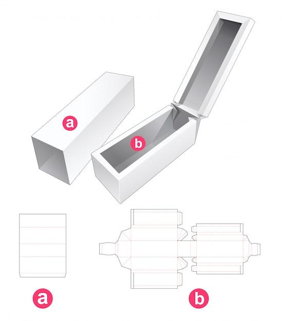 Boîte Longue Avec Rabat Et Couvercle Gabarit Découpé Vecteur Premium