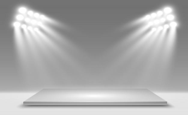 Boîte à Lumière 3d Réaliste Avec Fond De Plate-forme Pour La Performance, Le Spectacle, L'exposition. Illustration De Lightbox Studio Interior. Podium Avec Des Projecteurs. Vecteur Premium