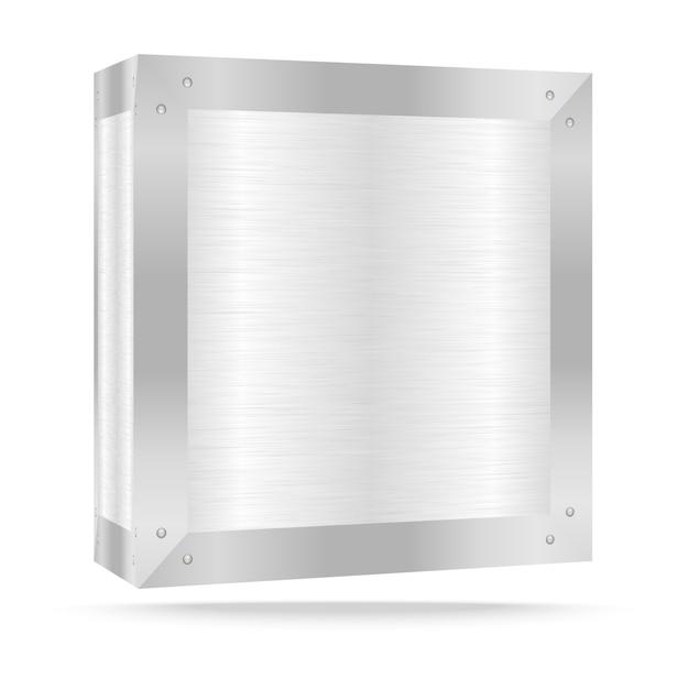 Boîte en métal argenté sur blanc Vecteur Premium