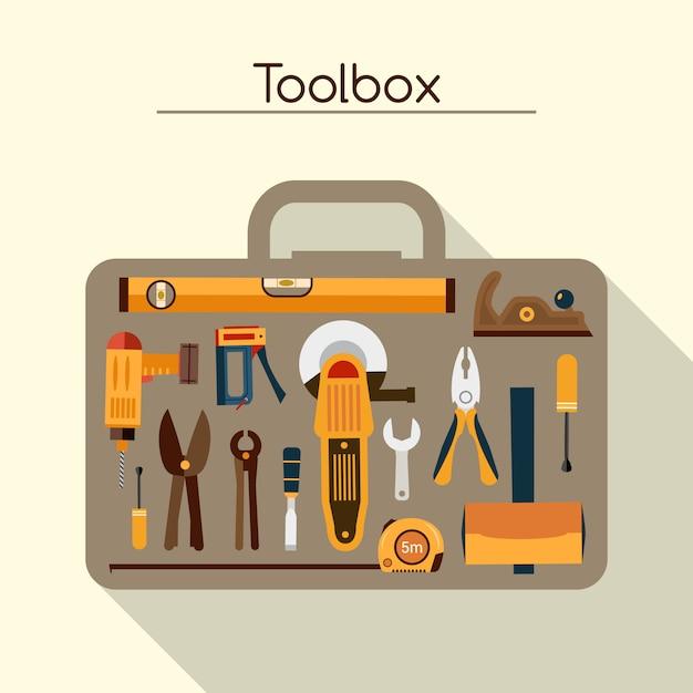 Boîte à outils avec outils Vecteur gratuit