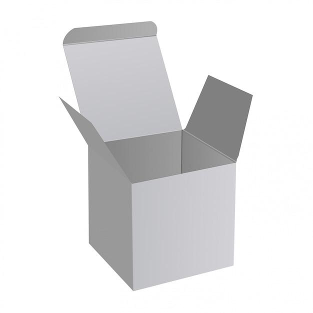 Boîte ouverte, maquette de papier carré 3d, cadeau surprise Vecteur Premium