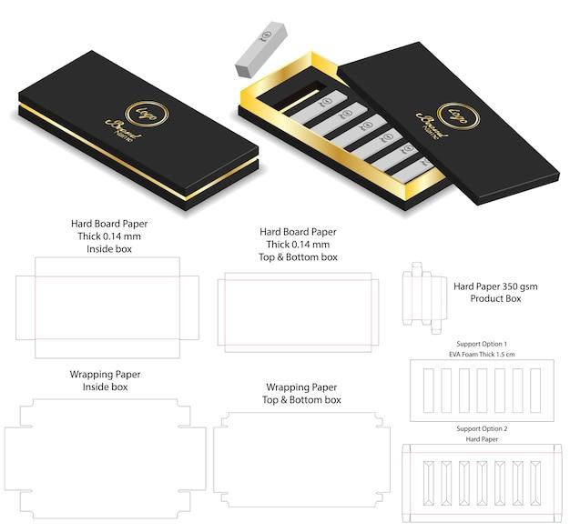 Boîte De Papier De Luxe Forme Forproduct Package Dieline Vecteur Premium