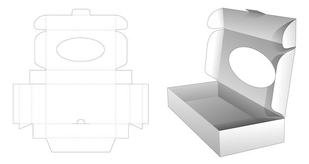 Boîte Pliante En Carton Avec Fenêtre Ellipse Gabarit Vecteur Premium