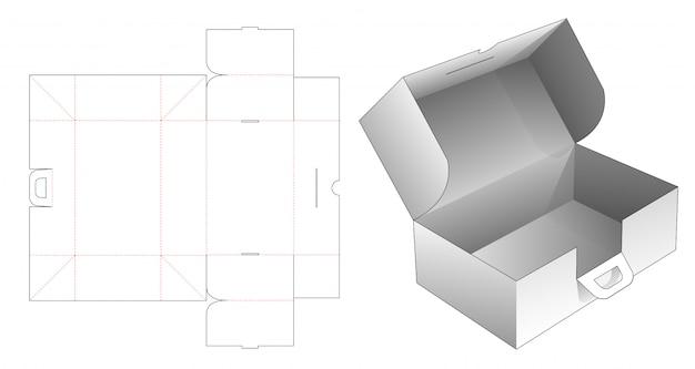 Boîte Pliante En Carton Avec Poignées Gabarit Découpé Vecteur Premium