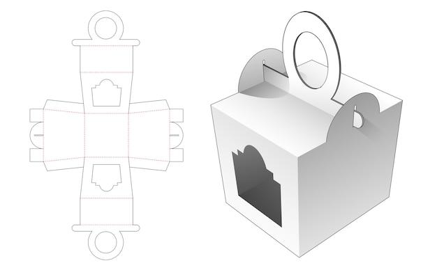Boîte De Poignées En Forme De Cercle Avec Conception De Modèle De Fenêtre Découpée Vecteur Premium