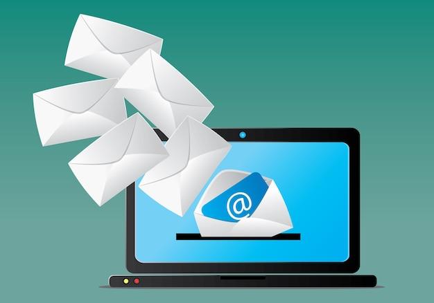 Boîte de réception de courrier électronique sur ordinateur Vecteur Premium