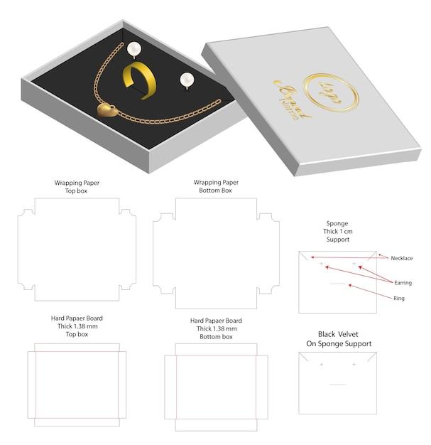 Boîte Rigide Pour Collier Bague Boucle D'oreille Vecteur Premium
