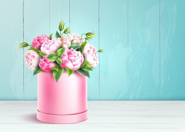 Boîte Rose élégante Sur Fond De Mur En Bois. Vecteur Premium