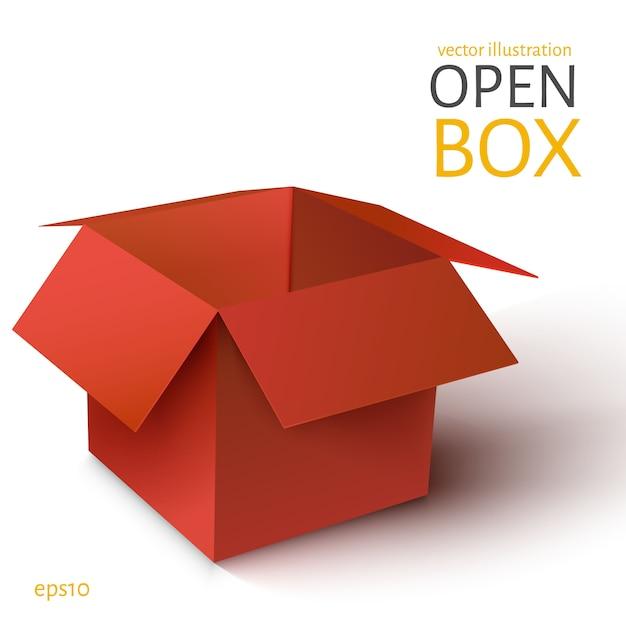 La boîte rouge s'est ouverte. Vecteur Premium