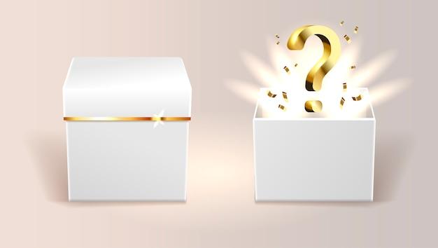 Boîte surprise blanche ouverte et fermée Vecteur Premium
