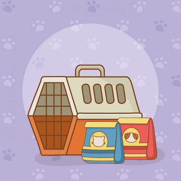 Boîte de transport et nourriture pour animaux Vecteur Premium