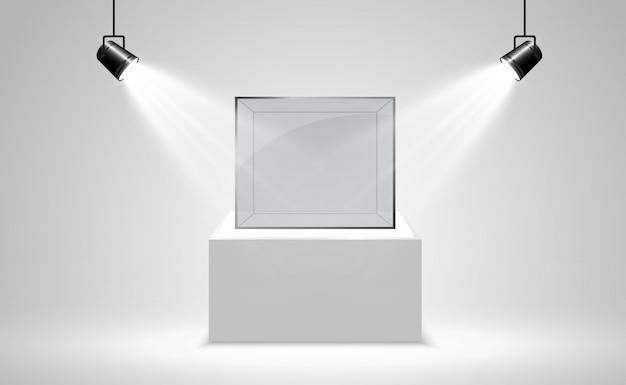 Boîte En Verre Réaliste Ou Récipient Sur Un Support Blanc Vecteur Premium