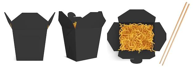 Boîte De Wok Avec Maquette De Nouilles Et De Bâtons Vecteur gratuit