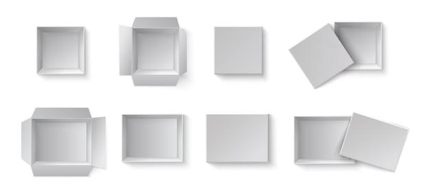 Boîtes-cadeaux D'emballage Vide Blanc. Un Ensemble De Boîtes Ouvertes Et Fermées à Différents Angles. Vecteur Premium