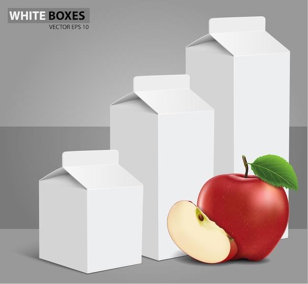 Boîtes de carton blanc vierge de jus de lait avec pomme Vecteur Premium
