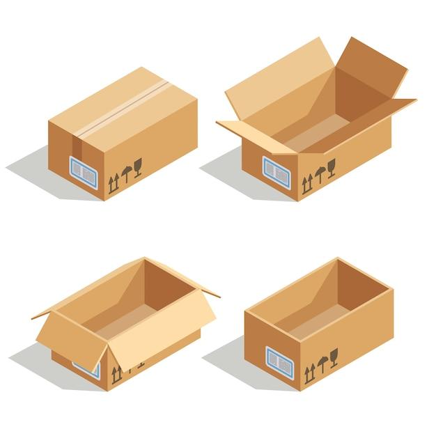 Boîtes en carton ouvertes et fermées Vecteur Premium
