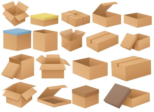 Boîtes en carton Vecteur Premium