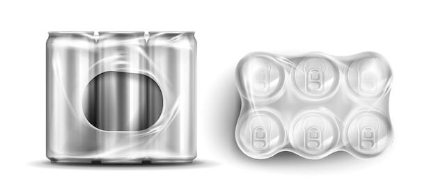 Boîtes De Conserve Dans Des Emballages En Plastique Vecteur gratuit