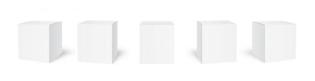 Boîtes D'emballage En Carton Vierges Vecteur Premium