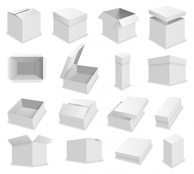 Boîtes d'emballage ouvertes réalistes de vecteur blanc Vecteur Premium