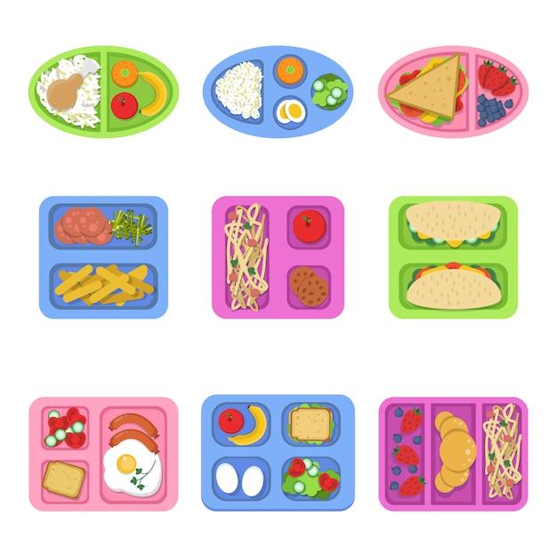 Boîtes à Lunch, Récipients à Base De Poisson, œufs De Repas, Tranches De Fruits Frais, Légumes, Sandwich Pour Enfants, Petit-déjeuner Vecteur Premium