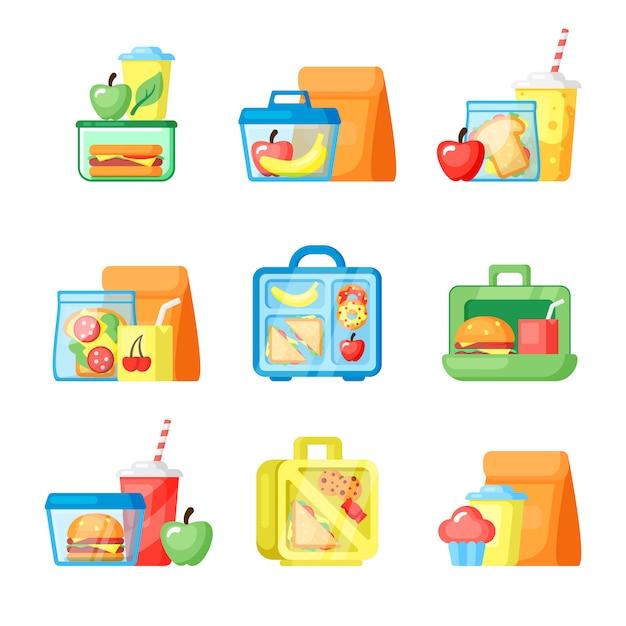 Boîtes à Lunch Avec Des Sandwichs Et Des Illustrations Plates De Fruits Frais Vecteur Premium