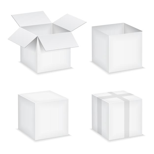 Boîtes de papier blanc ouvertes et fermées sur fond blanc Vecteur Premium