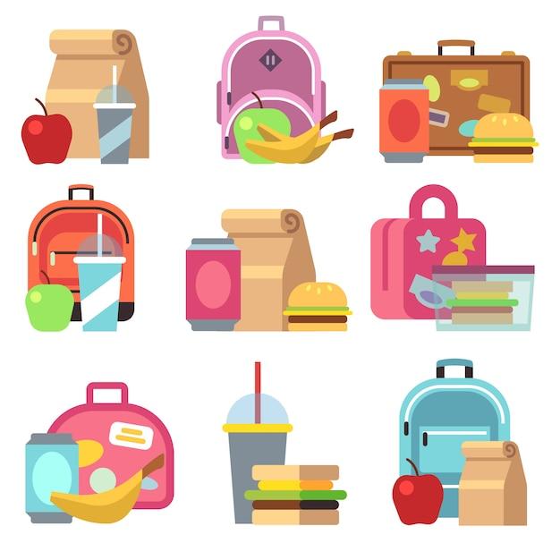 Boîtes de repas scolaires et enfants sacs plats icônes. boîte à lunch pour le déjeuner, sandwich au petit-déjeuner Vecteur Premium