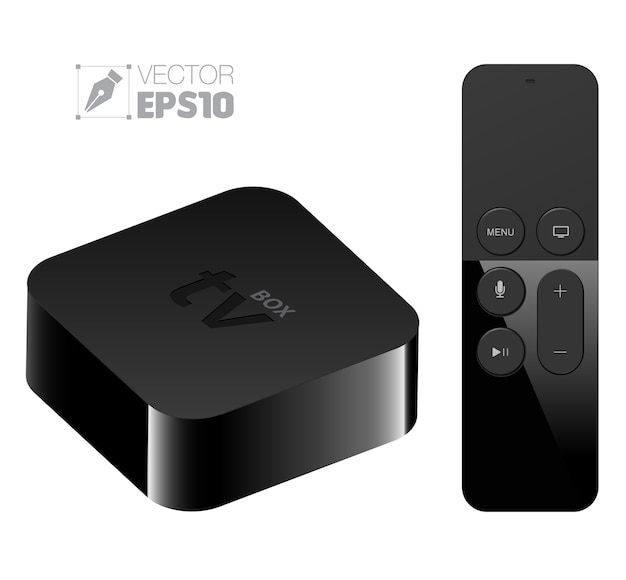 Boîtier de configuration de lecteur multimédia numérique avec style apple tv à distance Vecteur Premium