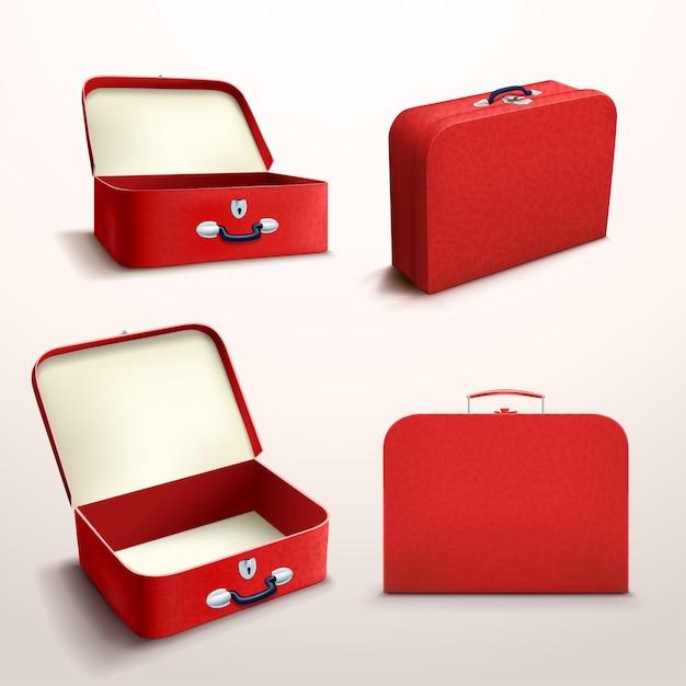 Boîtier Rouge Sur Blanc Vecteur Premium