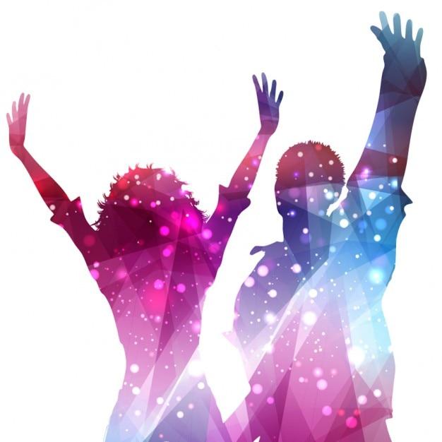 Bokeh et silhouettes de personnes brillantes Vecteur gratuit