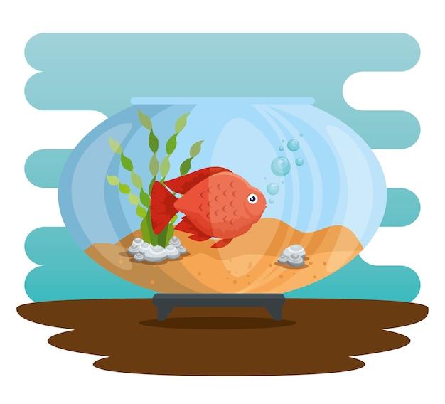 Bol Aquarium Avec Du Poisson Vecteur Premium