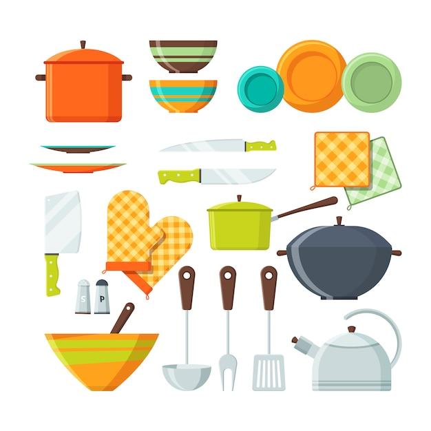 Bol, fourchette et autres ustensiles de cuisine en style cartoon Vecteur Premium