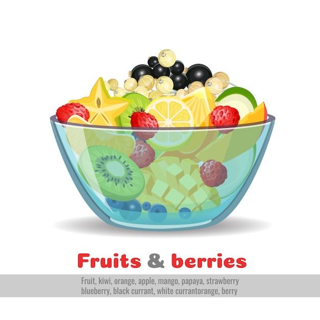 Bol en verre fruits juteux et baies Vecteur Premium