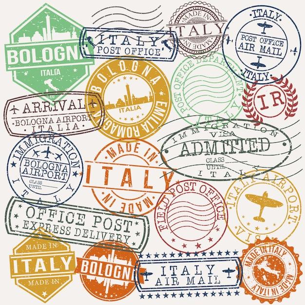 Bologne italie ensemble de timbres de voyage et d'affaires Vecteur Premium