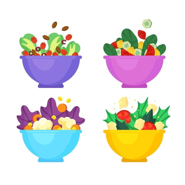 Bols à Fruits Et à Salade Vecteur gratuit