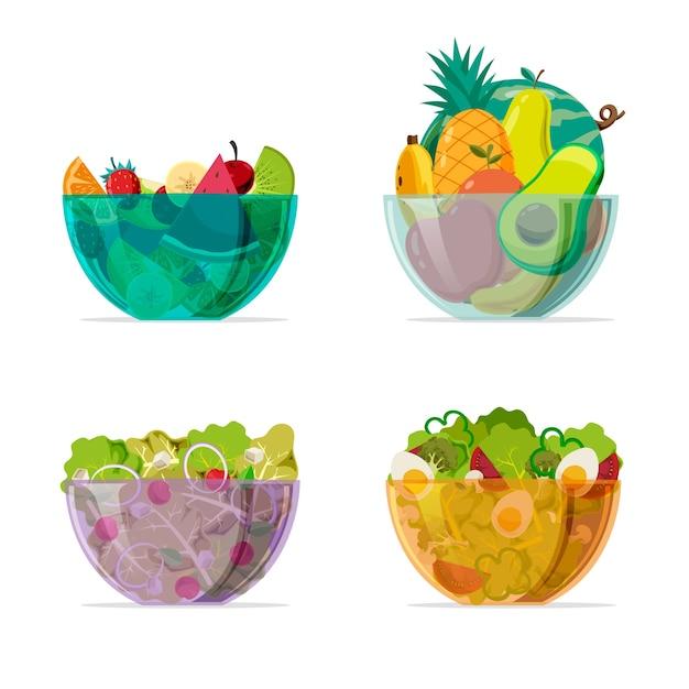 Bols Transparents Colorés Avec Salade Vecteur gratuit