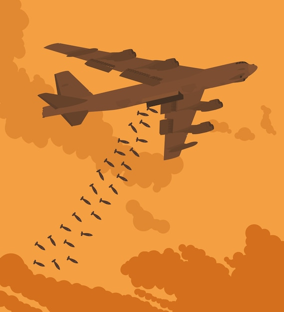 Bombardier lourd largué les bombes contre le coucher du soleil. illustration appropriée pour la publicité et la promotion Vecteur Premium