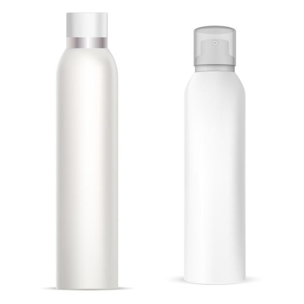 Bombe Aérosol, Bouteille En Aluminium De Pulvérisation De Déodorant, Tube De Cylindre De Désodorisant, Emballage Réaliste En Métal Vecteur Premium