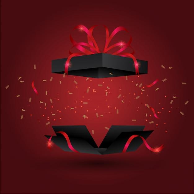 Bombe Boîte Cadeau Noire Avec Ruban Doré, Vecteur Premium