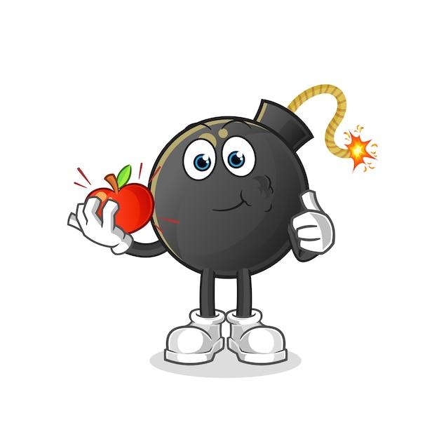 Bombe Mangeant Une Illustration De Pomme. Personnage Vecteur Premium