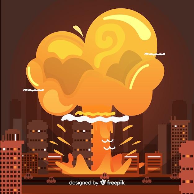 Bombe Nucléaire Dans Le Style De Dessin Animé De La Ville Vecteur gratuit