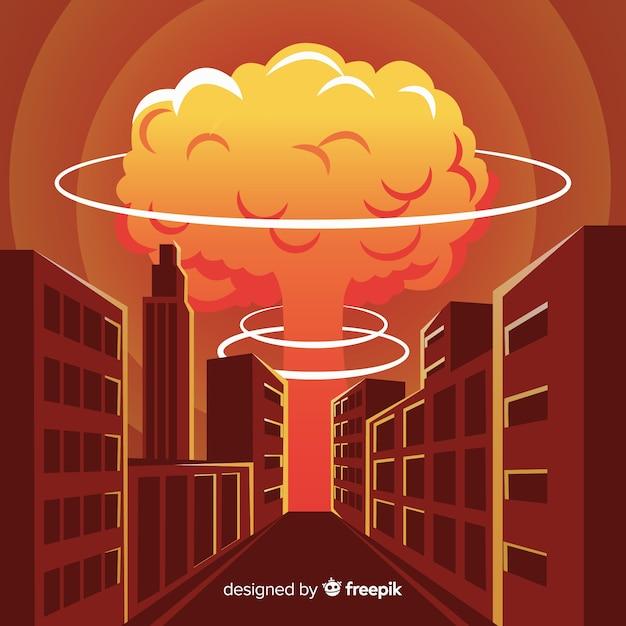 Bombe nucléaire plate dans une ville Vecteur gratuit