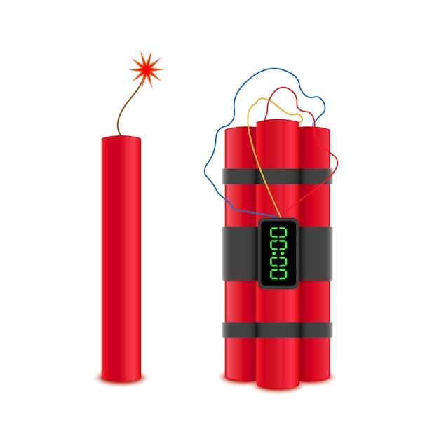 Bombes de dynamite avec vecteur Vecteur Premium