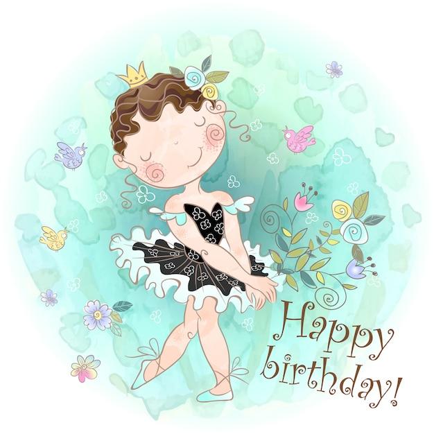 Bon anniversaire. carte de vœux avec une ballerine fille mignonne. Vecteur Premium
