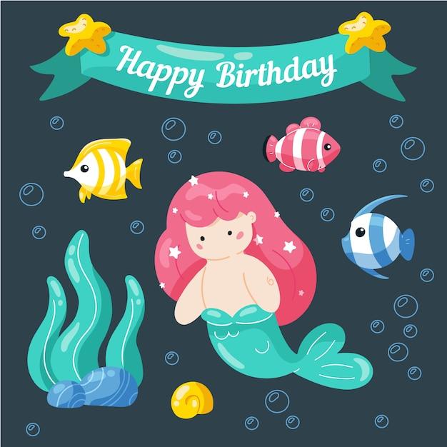 Bon anniversaire. modèle de carte d'anniversaire mignon petite sirène et la vie marine. Vecteur Premium